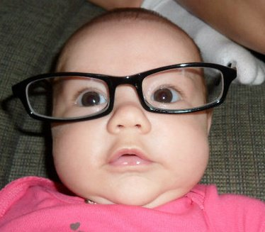 baby big glasses closeup